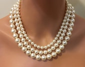 Classic Chunky Pearl Necklace and Earrings Set 3 strands multi strand Swarovski Pearls in Cream ivory elegant wedding jewelry sets mother br