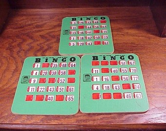Lot of 3 Vintage Green Bingo Cards with Sliding Red Plastic Windows, made by Bingo King, Littleton, Colorado