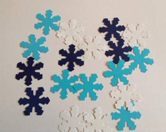 Snowflake confetti, paper punches, winter decoration, Christmas table decor, blue, white, set of 25