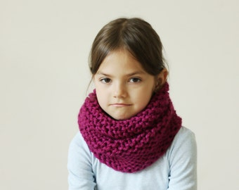 Girls Snood, Cowl Scarf for Girl, Hand Knit Cowl Snood,Kids Chunky Knit Scarf, Children's Winter Accessories Gray