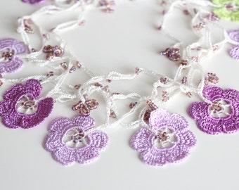 Crochet Flower Necklace, Oya Necklace, Purple Necklace, Lariat necklace, Unique Necklace