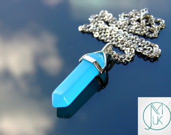 Blue Jade Crystal Point Pendant Natural Gemstone Necklace