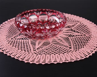 Elegant rose pink crocheted table doily centerpiece
