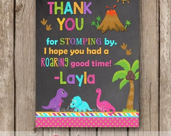 Dinosaur Thank You Card, Girl Dinosaur Thank You Card, Dino Thank You Card