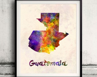 Guatemala - Map in watercolor - Fine Art Print Glicee Poster Decor Home Gift Illustration Wall Art Countries Colorful - SKU 1792
