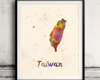 Taiwan - Map in watercolor - Fine Art Print Glicee Poster Decor Home Gift Illustration Wall Art Countries Colorful - SKU 1832