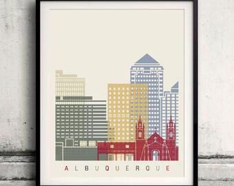 Albuquerque skyline poster - Fine Art Print Landmarks skyline Poster Gift Illustration Artistic Colorful Landmarks - SKU 2216