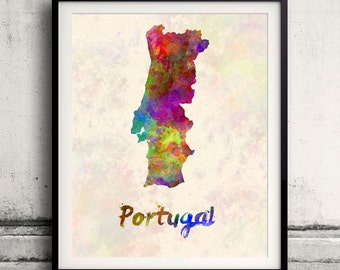 Portugal - Map in watercolor - Fine Art Print Glicee Poster Decor Home Gift Illustration Wall Art Countries Colorful - SKU 1704