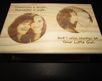 Mother's Day Gift,Mother of the Bride Keepsake box, Then and Now Mother and Daughter, Gift to Mom, Laser Engraved Photos, Personalized