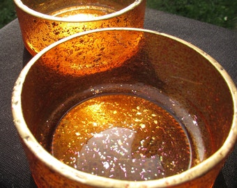 Flame-Orange Glass Bowls (pair)