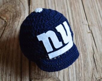 Newborn - NY Giants BABY -  Hat With Visor - Photography Prop - Newborn Hat - Baby Hat - Giants Baby Boy Hat - Newborn Props