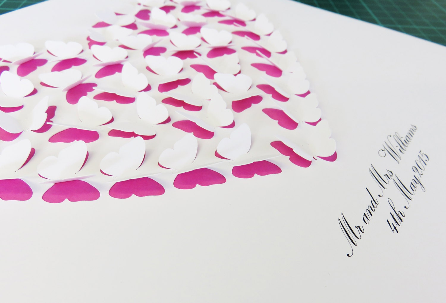 personalised 3d paper cut butterfly heart box frame art print