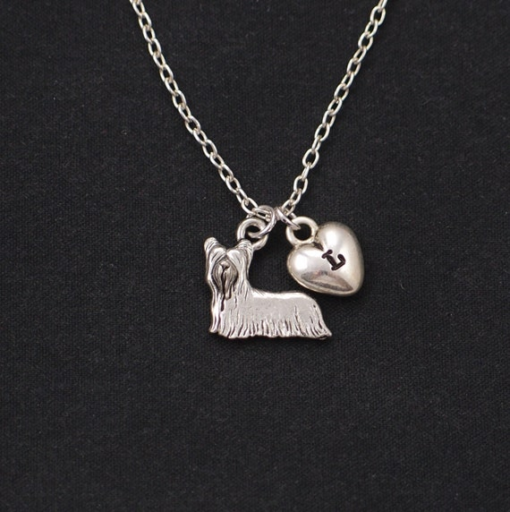 yorkie terrier silver pendant necklace