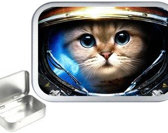 Space Cat 1oz silver hinged tobacco tin,pill box,storage tin