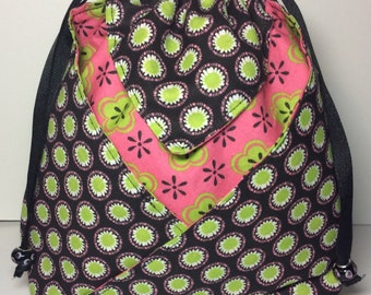 Large Fabric Pouch/Cinch Sack/Travel Bag/Fabric Bag/Travel Pouch/Cosmetic Bag/Makeup Bag/Gift Bag - Black with lime green and pink accents