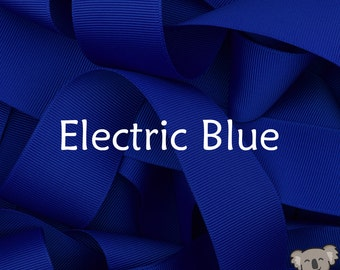 Electric Blue Grosgrain Ribbon 3 Metre Cut, FREE Shipping, 64 Colours in 7 Widths Available