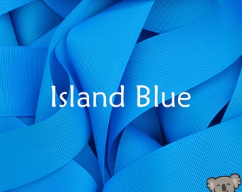 Island Blue Grosgrain Ribbon 3 Metre Cut, FREE Shipping, 64 Colours in 7 Widths Available