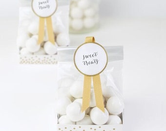 Wedding Favour Bags   Gold and White Treat Bags   Favour Bags   Treat Bags   Wedding Favours   Party Bags   Gold & White   12 Per Pack