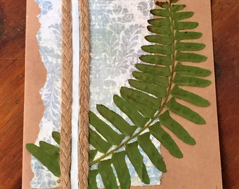 Vintage style all occasion card, collage with pressed fern leaf, vintage birthday, rustic birthday, card for her, Mother's Day card