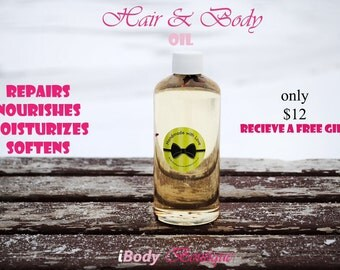 Beautiful Herbal Hair & Body Oil 12 oz Blend of Grape seed oil,Sweet Almond Oil and Apricot a Kernal