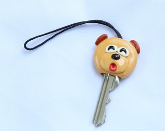 Dog Key Cover, key case, key holding, clay handmade, clay art, dog clay, cartoon clay, clay key cover