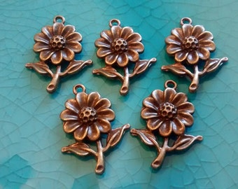 10 flowers daisies antique bronze plated charms cameo cabochon base settings pendants earrings necklaces jewellery making charms bulk