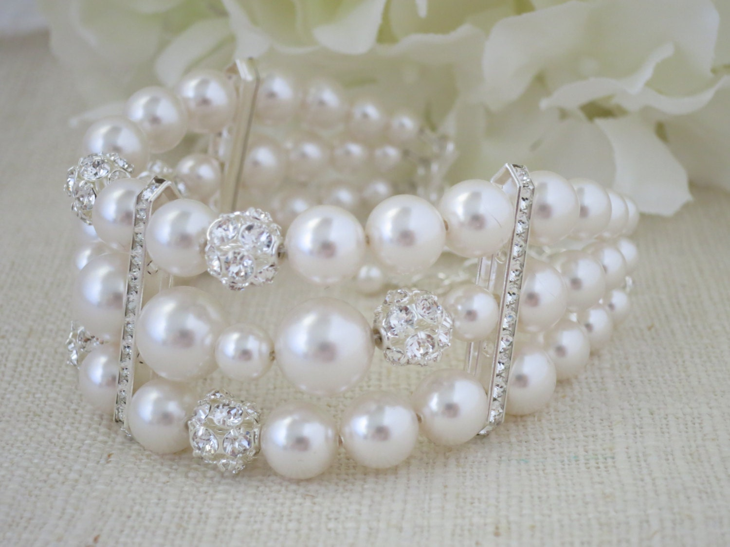 Multi strand pearl bridal cuff, Swarovski rhinestone and pearl wedding bracelet