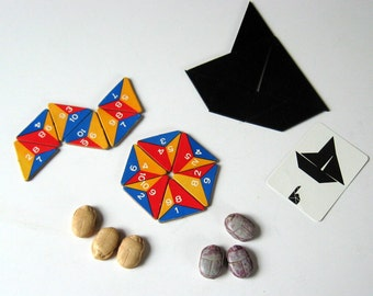 3 Vintage Family Games:  JEEHO like Tangrams, CONTACK like Triminoes, and CHECKERS
