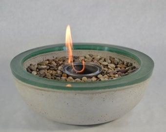 Concrete Fire Bowl - Green Rim // Fire Pit // Outdoor Patio // Outside Decor // Colored Bowl // Fire Gel // Zen Garden // Vessel