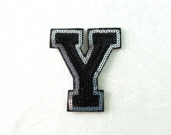 Alphabet Letter Y Iron on Patch - Black Sequin Y, Glitter Applique Embroidered Iron on Patch - Size 6.4x7.4 cm#T1