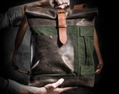 Canvas and leather Backpack Original Collection by Kruk Garage Roll top backpack made of British army duffle bag