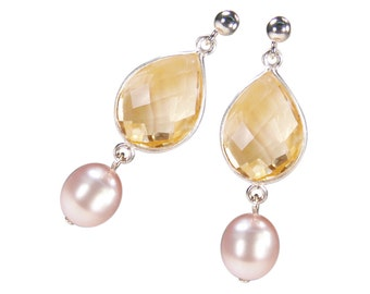 Gemstone earrings with Citrine and Pearl