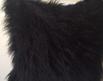 Black fur cushion