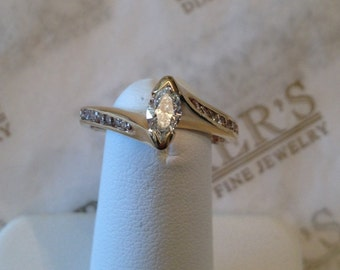 Vintage 14k yellow gold engagement ring center Marquise Diamond & 14 Round Diamonds .54 tw IJK-VS2-I1 in Tall Bypass Mounting size 6.25