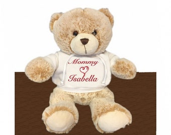 Personalized Snuggle Teddy Bear with White Hooded Shirt, 13 inch