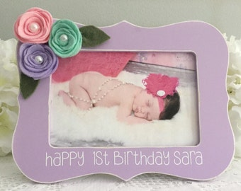 Babys First Birthday Gift Baby Gift Baby Picture Frame First Birthday Present 4x6 Opening