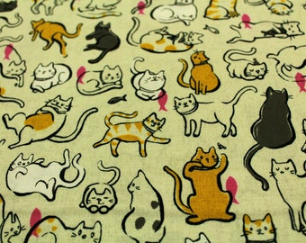 Patchwork fabric - fabric cats