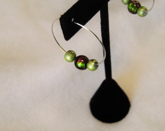 Silver Hoop Earrings with Green and Purple Beads
