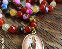 108 Bead Handknotted Faceted Citrine, Tigers Eye, Caramel Fire Agate, Carnelian + Sterling Silver Lined Lakshmi Pendant Yoga and Meditation
