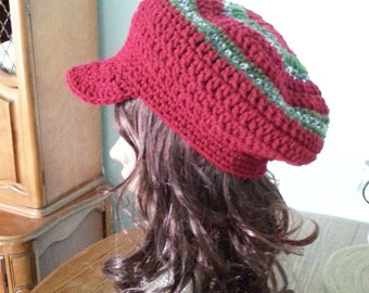 Crochet Hat, Red Hat, Newsboy Hat, Beret, Women's Accessories, Newsboy cap
