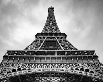 """Paris Photography, Eiffel Tower, Industrial Print, Paris Photo, Eiffel Tower Art, Wall Decor, Black and White, """"Up the Eiffel Tower"""""""
