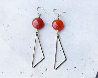 Carnelian earrings, geometric earrings, orange drop earrings, red drop earrings, gold drop earrings, gemstone drop earrings