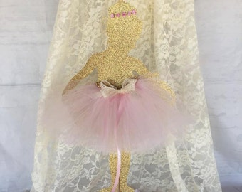 Large Ballerina Centerpiece - Ballerina Party - Ballerina Birthday - Ballerina Decorations - Pink and Gold - Customized - Ballet - Glitter