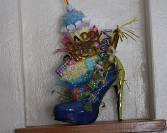 Birthday high heel shoe arrangement