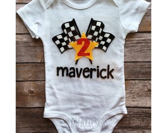 Racecar birthday onesie // boys birthday onesie hotwheels race car driver racing flags