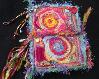 Fabric Collage Art Journal Cover