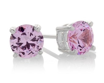Pink Sapphire Earrings, 2.00 ct. Pink Sapphire Stud Earrings, 4 Prong Setting, October Birthstone, Bridesmaid Gift