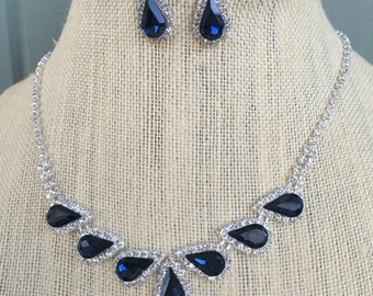 Beautiful Montana Blue and Clear Rhinestone Necklace and Earring Set...Wedding / Bride / Bridal...Something  Blue