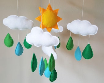 Baby Mobile, Baby Crib Mobile, Rain Drop Mobile, Sun Mobile, Cloud Mobile, Green Rain Drop Mobile, Baby Nursery Mobile, Felt Mobile