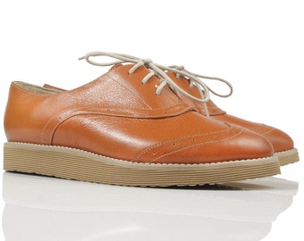 Orange Leather Oxford Shoes